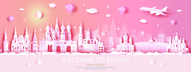 Wall Mural - Travel Russia top world famous city ancient and palace architecture. Tour moscow landmark of europe with paper origami. Modern business brochure design on pink color background.Vector illustration.