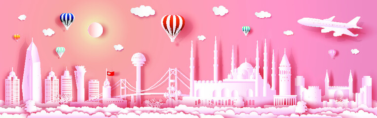 Wall Mural - Travel to Turkey landmarks of europe with panorama view architecture on pink background.Traveling city with modern building, skyline, skyscraper, Business brochure modern design.Vector illustration.