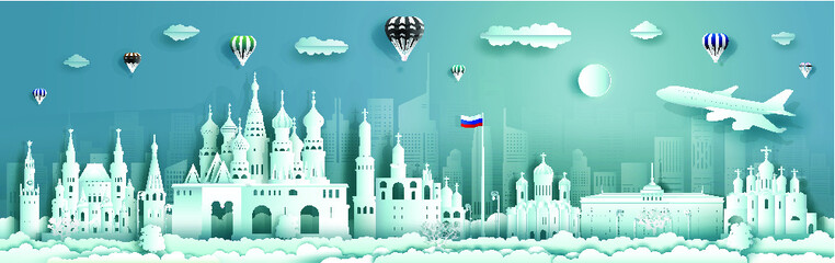 Wall Mural - Travel Russia top world famous city ancient and palace architecture. Tour moscow landmark of europe with paper cut. Modern business brochure design for advertising, tour, travel.Vector illustration.