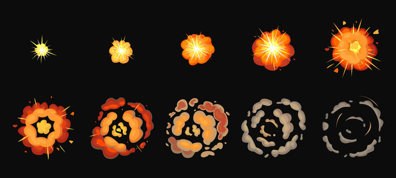 Explosion process isolated cartoon set icon. Vector illustration effect explode on white background. Vector cartoon set icon explosion process.