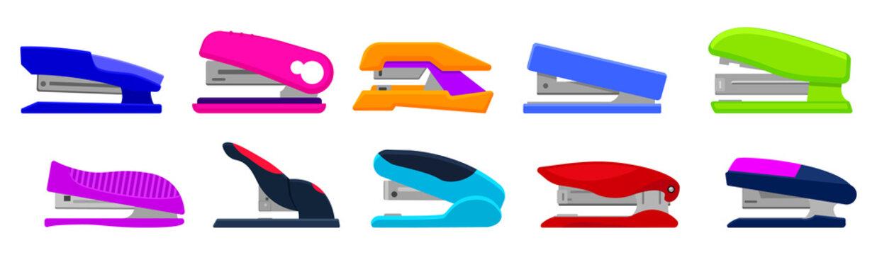 Stapler vector cartoon set icon. Isolated cartoon set icon stapling equipment. Vector illustration stapler on white background.
