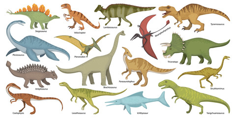 Dinosaur isolated cartoon set icon. Vector cartoon set icon dino animal. Vector illustration dinosaur on white background.