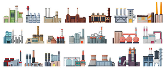 Industry factory isolated cartoon set icon. Vector cartoon set icon manufacturing of building. Vector illustration industry factory on white background. Papier Peint