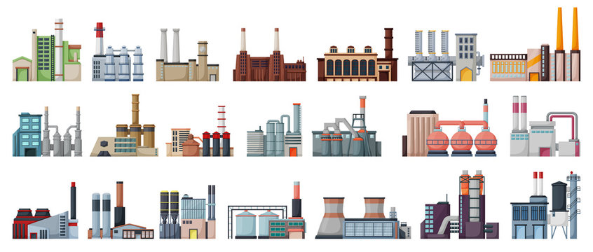 Industry factory isolated cartoon set icon. Vector cartoon set icon manufacturing of building. Vector illustration industry factory on white background.
