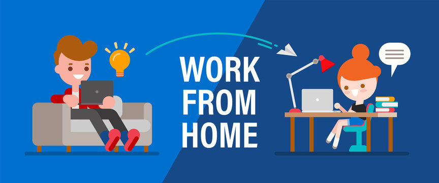 Work from home. Young people, man and woman freelancers working remotely on laptops and computers. People at home in quarantine. Vector cartoon flat style illustration.