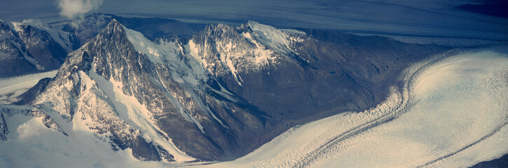 Panoramic aerial view at 3400 meters of glaciers and Andes Mountains, Patagonia, Argentina