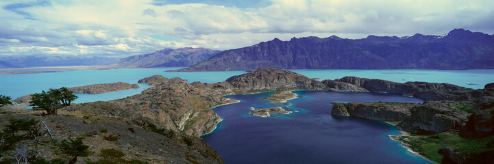 Panoramic view of Argentina's largest lake, Lago Argentino in Parque Nacional Las Glaciares, near El Calafate, Patagonia, Argentina Wall mural