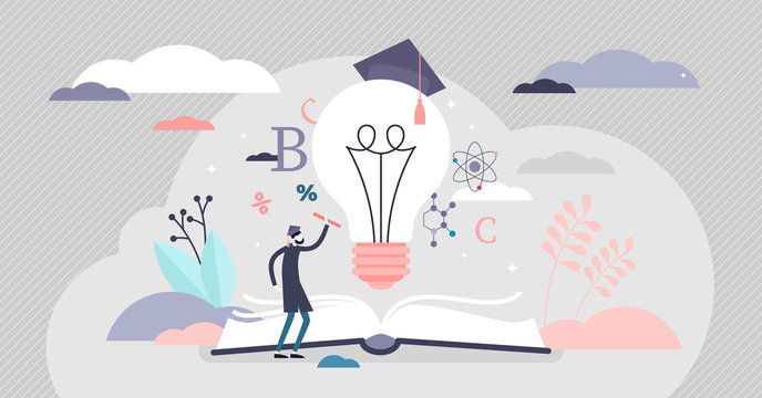Education ideas vector illustration. Knowledge in flat tiny persons concept