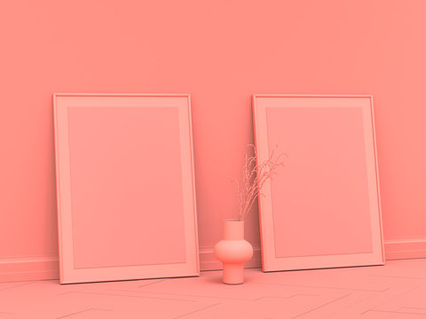 2 vertical empty poster frames on the floor in solid, single pink color room, 3d Rendering, side view, 60x80