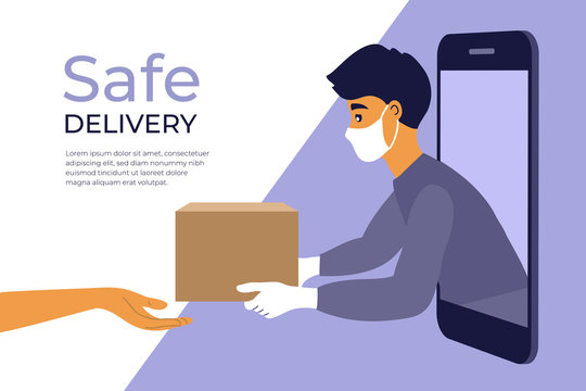 Safe delivery service concept. Stay home, order food or goods online by smart phone. Man in protective face mask and gloves gives box to customer. Coronavirus quarantine isolation. Vector illustration