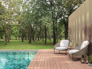 Swimming pool terrace with garden view 3d render,  There are a wooden floor ,green tile in the swimming pool and ,wooden lath wall,Decorated with rattan furniture,Surrounded by nature. Fotomurales