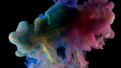 Fototapete - Color paint drops in water , abstract color mix , drop of Ink color mix paint falling on water Colorful ink in water, 4K footage,