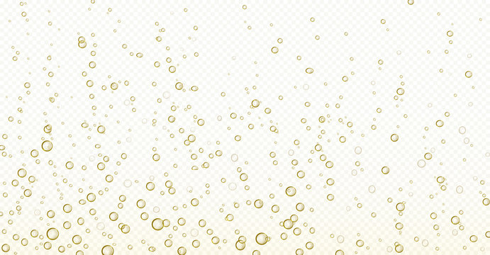 Soda bubbles, champagne, water or oxygen air fizz, carbonated drink or underwater abstract background. Dynamic motion, transparent aqua with randomly moving fizzing moisture drops, realistic 3d vector