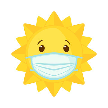 Vector Sun icon wear face mask for coronavirus protection isolated on white background.