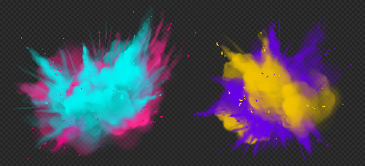 Holi paint powder color explosion realistic vector illustration. Blue pink, yellow purple dust splash, spring holiday paint burst isolated on dark transparent, decorative element for indian fest Fototapete