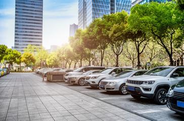 Financial District street parking lot Fotobehang