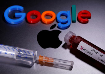 A test tube with fake blood and COVID-19 label, a syringe and a 3D printed Google logo