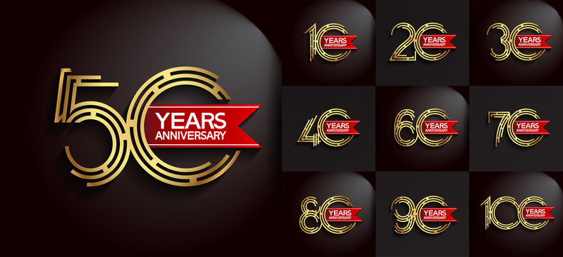 Anniversary logotype set with gold color and red ribbon for invitation, background, template, greeting and celebration event