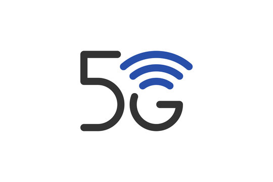 5G network connection business symbol. 5th generation wireless internet technology icon. Vector 5 G communication emblem design template isolated
