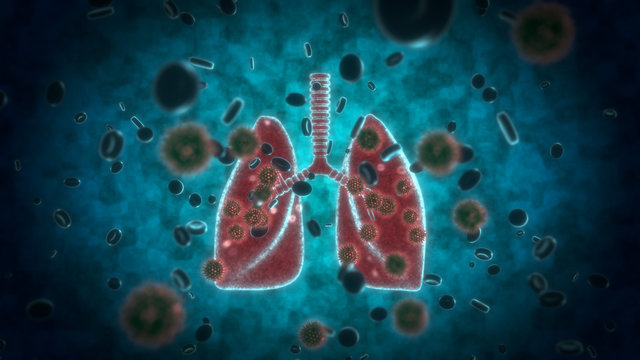 3d visualization scientific background how COVID 19 Coronavirus affect lung