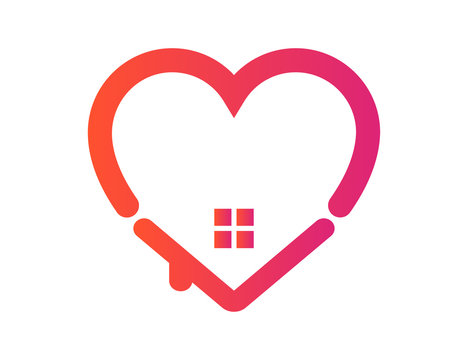 Stay home motivation vector. Heart icon as house template. Be at home. Quarantine against coronavirus and covid-19. Vector EPS 10.