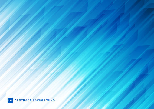 Abstract modern diagonal stripes lines white and blue background