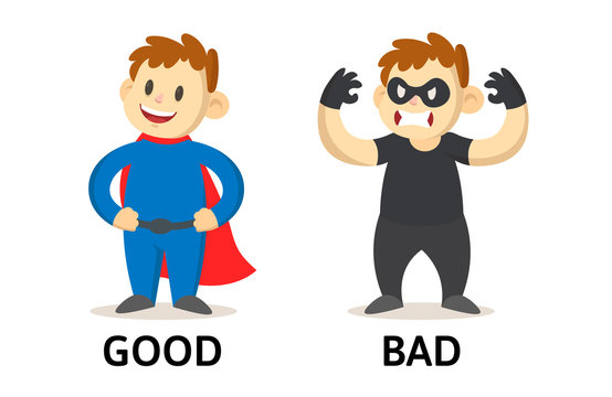 Words good and bad textcard with cartoon characters. Opposite adjectives explanation card. Flat vector illustration, isolated on white background.