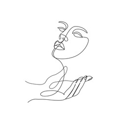 abstract woman face with hand one line drawing. Portrait minimalistic style continuous line