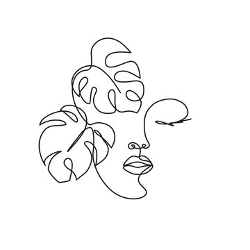 Line drawing of the profile of a woman with flowing hair and flowers, for organic cosmetics