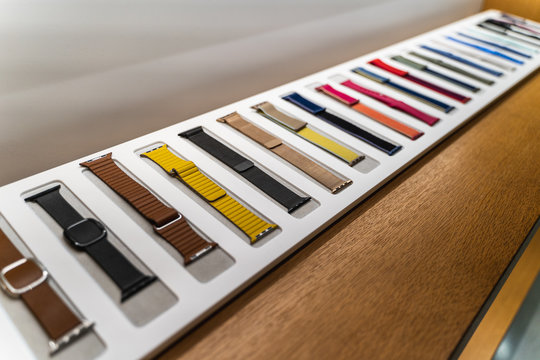 Dubai, UAE - February 2020: Colorful Apple watch straps or bands in Apple Store, close up