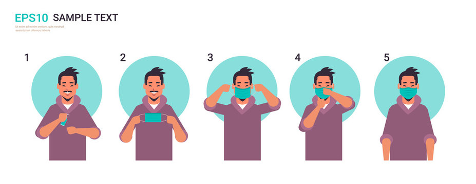 how to wear medical face mask covid-19 protection asian man presenting step by step correct method of wearing mask to reduce coronavirus spreading horizontal portrait vector illustration