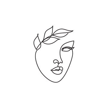 Female portrait for logo, icon. Abstract minimal line drawing beauty woman face