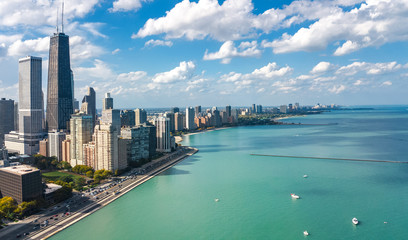 Wall Mural - Chicago skyline aerial drone view from above, city of Chicago downtown skyscrapers and lake Michigan cityscape, Illinois, USA