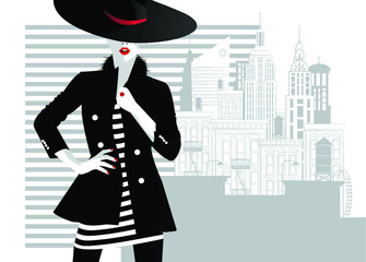 Fashion woman in style pop art. Vector illustration Wall mural