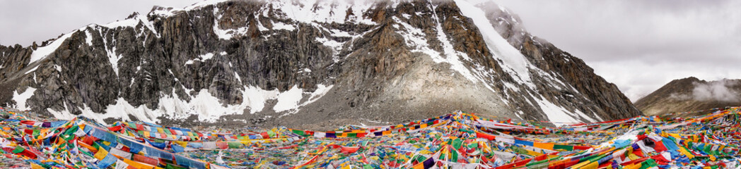 Drolma La Pass on altitude 5650 meters above sea level is the highest point of the ritual route around the Sacred Mount Kailash in Western Tibet. Wall mural