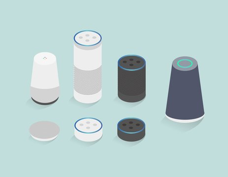 Set of smart speaker icons, isolated vector illustration