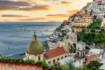 Positano, sunset on the Amalfi Coast, Campania, Italy