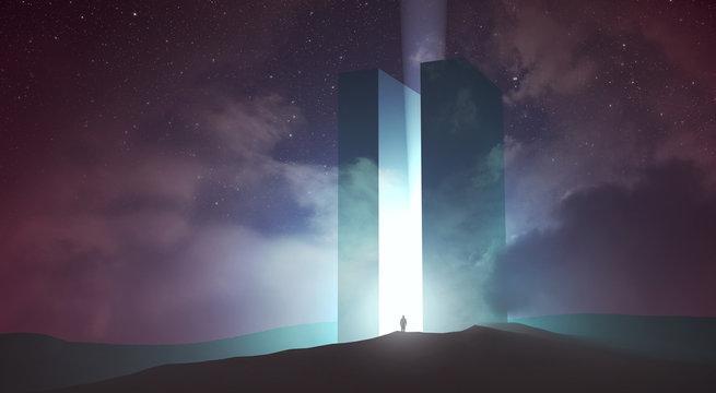 light coming out of magical gate in dark surreal landscape, 3d illustration