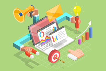 3D Isometric Flat Vector Concept of Digital Marketing Agency, Writing Creative Content, SEM and SEO.