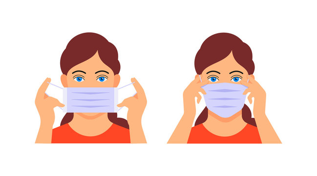 How to wear medical mask. Girl puts on protective medical mask on face. Stop infection, defence from respiratory disease, coronavirus. Healthy of female wear protective mask against infectious vector