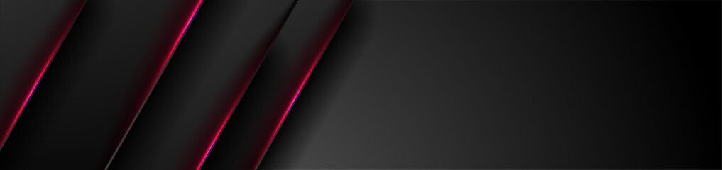Black tech abstract banner design with red neon laser lines. Glowing futuristic background. Vector illustration