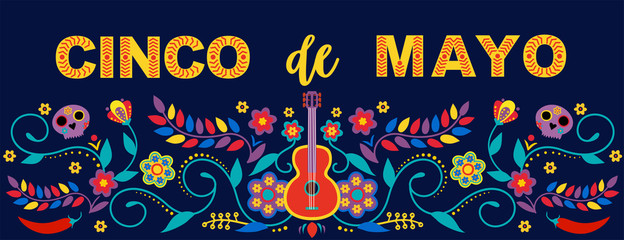 Mexican holiday 5 may Cinco De Mayo. Vector template with traditional Mexican symbols. Fiesta banner and poster design with flags, flowers, decorations. Wall mural