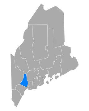 Karte von Androscoggin in Maine