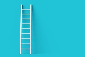 Fototapeta Single white ladder leaning against pastel blue wall minimal career, opportunity or goal concept obraz