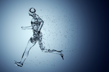 Human body shape of a running man filled with blue water on blue gradient background - sport or fitness hydration, healthy lifestyle or wellness concept Fototapete