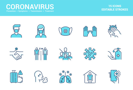 Flat line filed icons design-Coronavirus