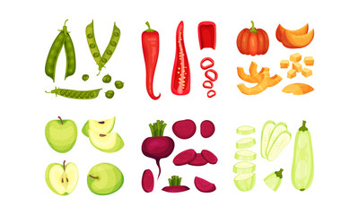 Whole and Chopped Vegetables and Fruits Vector Set Papier Peint