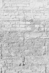 Fotobehang Oude vuile getextureerde muur white brick wall texture / white abstract background, vintage brick wall building
