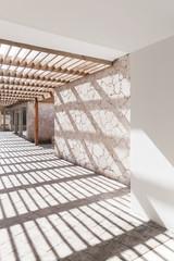Abstract minimal interior fragment, an empty corridor