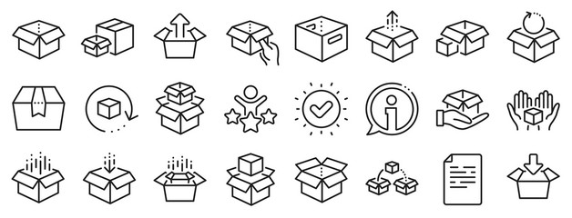 Package, delivery boxes, cargo box. Box line icons. Cargo distribution, export boxes, return parcel icons. Shipment of goods, purchase container, open package. Logistics goods. Vector